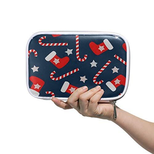 (Christmas Socks Star Makeup Brush Set Bag Multifunction Leather Large Pencil Case Organizer Zip)