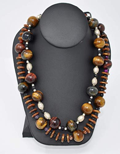 Tiger Eyes Beads, natural stones, Wood Roundels, Ghana beads and black Agate Necklace, hand beaded, hand strung, two strands by TreAssure Design ()