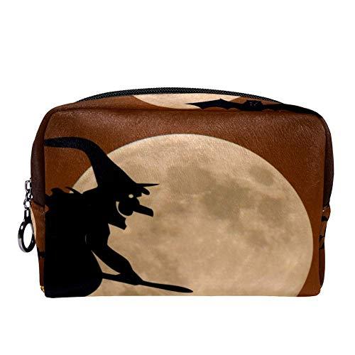 MAPOLO Happy Halloween Pumpkin Moonlight Wizard Bat Makeup Bag Toiletry Bag for Women Skincare Cosmetic Handy Pouch Zipper Handbag