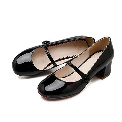 APL10558 Leather Casual Pumps Solid Burnished BalaMasa Black Womens Shoes qB4Wf