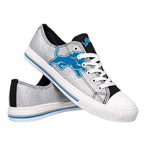 Seven Colour - FOCO NFL Detroit Lions Womens Glitter Low Top Canvas ShoesGlitter Low Top Canvas Shoes, Team Color, 7/M