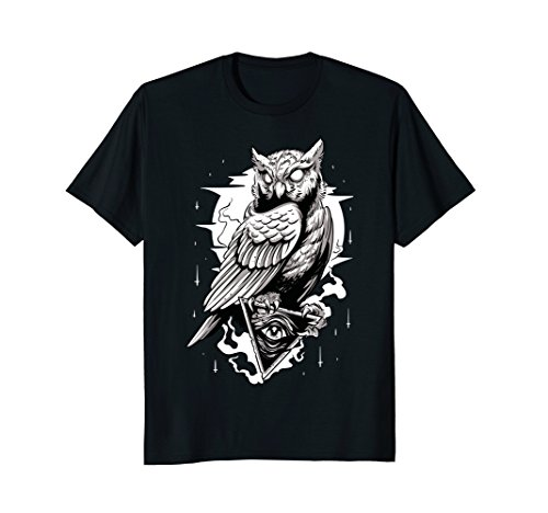 Mens Black Owl Tatto Tshirt Illuminati Medium Black