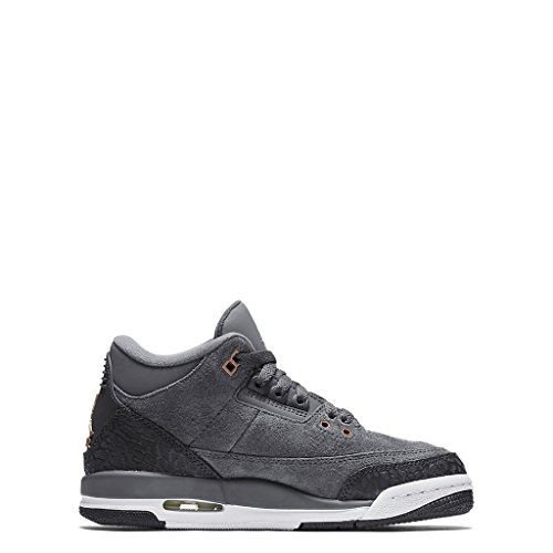 Nike Air Jordan 3 Retro (Gs) Size 5Y Girl Basic/Active Dark Grey/Mtlc Red Bronze-White Shoes (Nike Grey High Red Tops And)