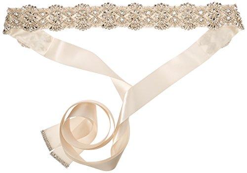 Nina Women's Merina Glamorous Pearl and Crystal Satin Bridal Belt, Ivory, One Size by Nina