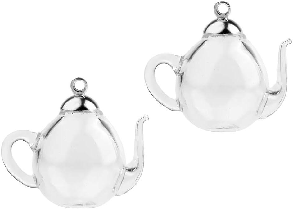 2 Stücke Mini Teekanne Leeres Glas Wishing Cap Flaschen Fläschchen