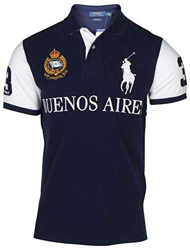 Polo RL Men's Buenos Aires Custom Fit Polo-Navy/White-Medium