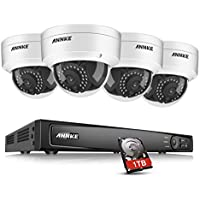 ANNKE 8 Channel 1080p Network Video Recorder with 1TB Surveillance Hard Disk Drive Included and (4) 2.0MP 1920TVL Security Cameras with Smart Search/Playback