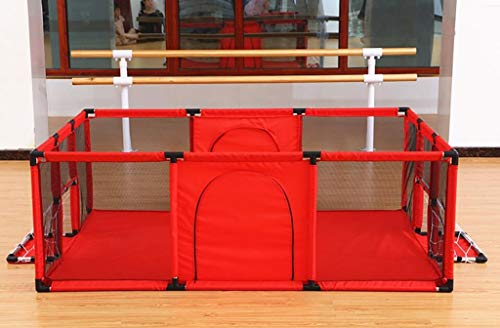 Baby Playpens Red Extra Large with Soft Spong Pad and 200 Ocean Balls, Baby Kids Play Pens 4 Panel Kids Activity Center Room for Infant, Indoor Outdoor New Pen (Size : 180x120cm) by Baby Playpens (Image #3)