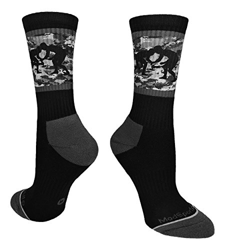 MadSportsStuff Fighting Wrestlers Crew Socks (Black/Graphite Camo, Small)