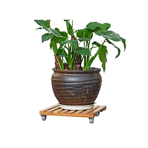 Wooden Flower Stand Flower Pot Rack Moving with Wheeled Living Room Balcony Multi-Function Storage Shelf HJ71 (Size : ()