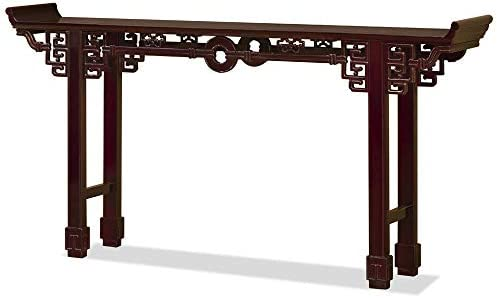 China Furniture Online 72 Inch Dark Cherry Rosewood Coin Design Altar Table