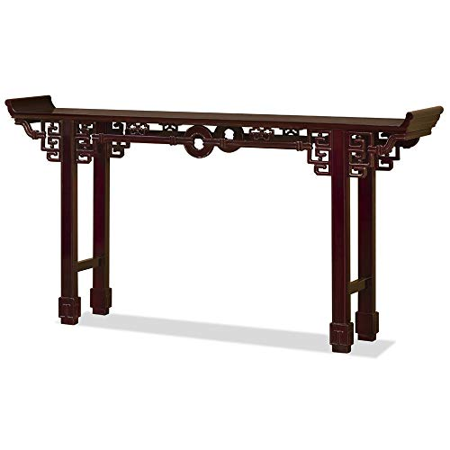 ChinaFurnitureOnline Rosewood Console Table, 72 Inches Coin Design Altar Table Cherry Finish