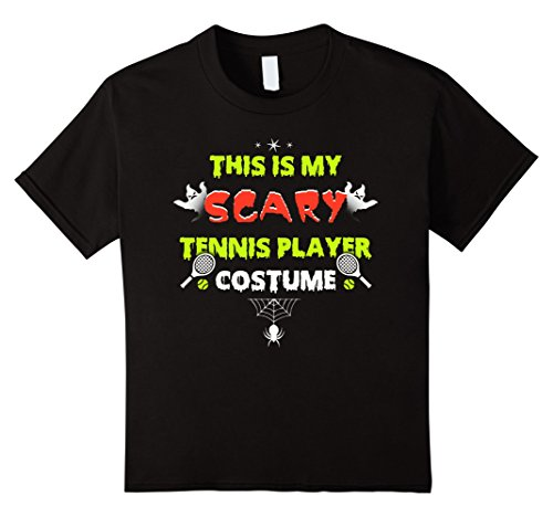 Kids This Is My Scary Tennis Player Costume Halloween T-Shirt 4 Black