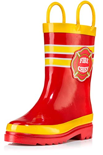 Puddle Play Kids Boys Fire Chief Printed Waterproof Easy-On Rubber Rain Boots (9 M US Toddler)