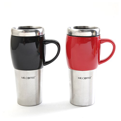 Mr. Coffee Traverse 2 Pack 16oz Travel Mug & Lid, Black & Red
