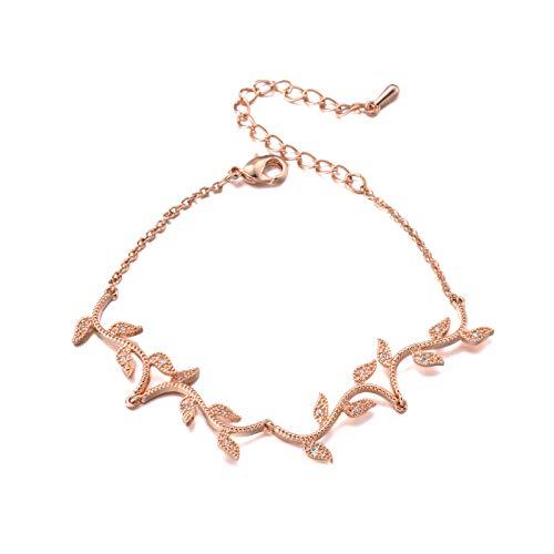 SWEETV Rose Gold Bracelet Wedding Bridal for Brides,Bridesmaid-Crystal Cubic Zirconia Bracelet Leaf Vine Vintage Style