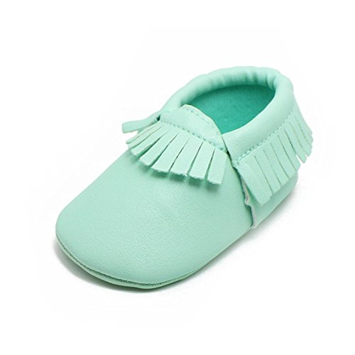 Voberry Baby Girls Soft Soled Tassel Bowknots Crib Shoes Moccasins (0~6 Month, Green) ()