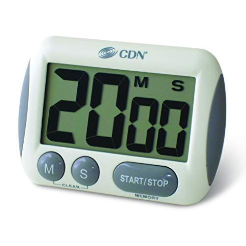 (CDN TM15 Kitchen Timer, Extra Large Big Digits, Loud Alarm, Magnetic Backing, Stand- White - 02626)