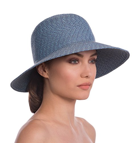 Eric Javits Luxury Fashion Designer Women's Headwear Hat - Squishee IV - Denim by Eric Javits