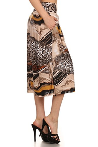 ICONOFLASH Pleated Gaucho Pants with Banded Waist (Milky Way Cheetah, L)