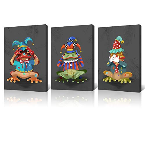LoveHouse 3 Panel Colorful Frog Canvas Wall Art Hear See Speak No Evil Clown Looking Painting Print Animal Oil Painting Artwork for Living Room Play Room Decoration Ready to Hang 16x24inchx3pcs ()