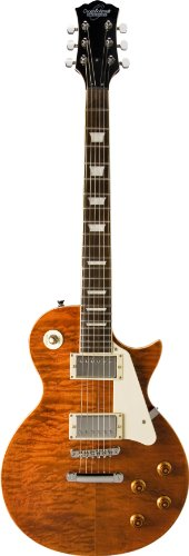 Oscar Schmidt OE20QTE-A-U 6-String Solid-Body Electric Guitar, Quilt Tiger Eye