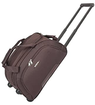 Wheeled Luggage Holdall on Wheels Travel Weekend Bag Brown HOL617 ...