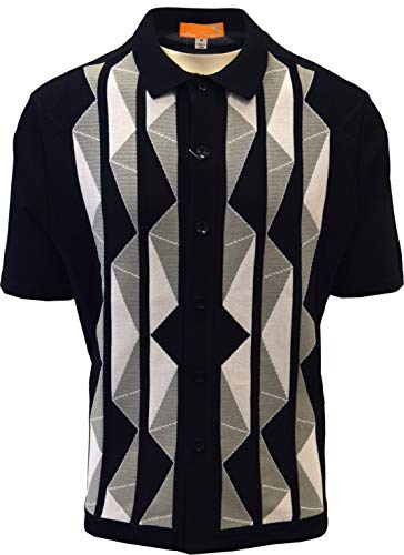 (Edition-S Men's Short Sleeve Knit Shirt- California Rockabilly Style Aztec Triangle Design (Medium, Black))