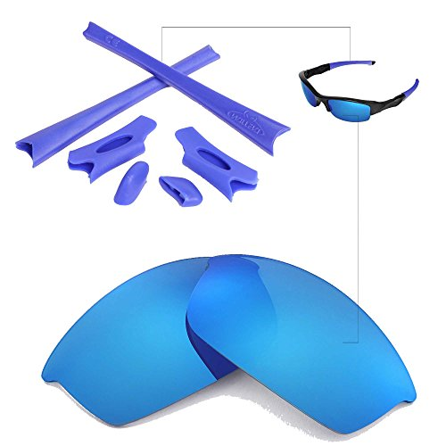 Walleva Polarized Ice Blue Lenses And Blue Rubber Kit For Oakley Flak Jacket