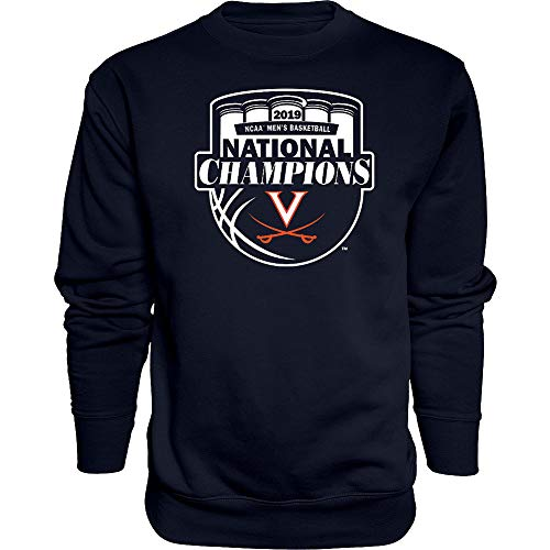 Elite Fan Shop UVA Virginia Cavaliers National Basketball Champions Crewneck Sweatshirt 2019 Official Logo Navy - XL