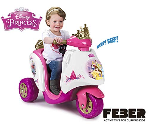 57b11ff611a7 FEBER- 6V Princesas Scooty Disney Princess 6 V, Color Oro, Rosa ...