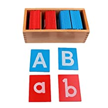 Dovewill Montessori Early Learning Sandpaper Alphabet Card in Box Kids Wooden Toy Set