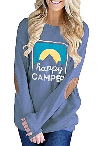 QINSEN Womens Happy Camper Printed Crewneck Blouse Long Sleeve Loose Fit Tops Tunic Sweatshirt Blue XL