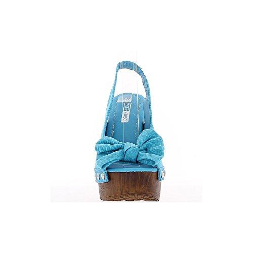 Sandales bleues à talon de 14cm et plateau avec noeud