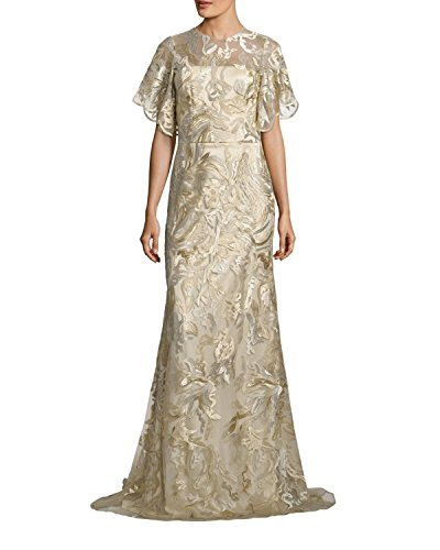 David Meister Gowns - David Meister Metallic Embroidered Evening Gown Dress