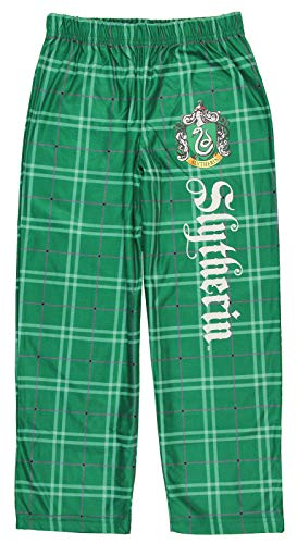 (INTIMO Harry Potter Big Boys Houses Plaid Pajama Lounge Pants (Slytherin,)
