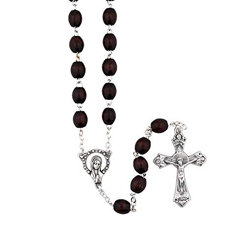 VILLAGE GIFT IMPORTERS Mahogany Brown Madonna Mary Rosary | Sunburst Silver Crucifix | Beautiful Dark Brown Beads | Wood and Metal Crucifix | Christian Jewelry