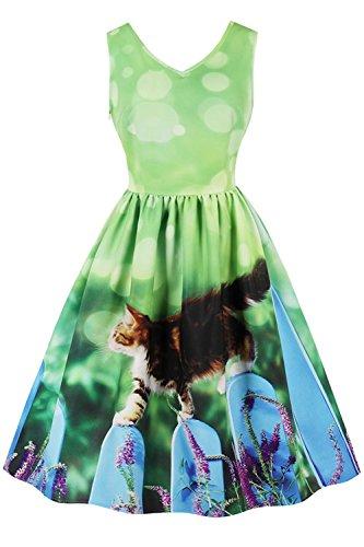 Damen 50er Jahre Blumenrock Vintage Kleid Rockabilly Fastliche ...