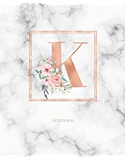 Notebook: Marble Rose Gold Monogram Initial Letter K with Marble and Pink Floral Notebook Journal for Women, Girls and School Wide Rule (7.5 in x 9.25 in)