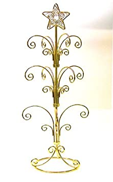 National Artcraft Ornament Display Stand Holds 12-24 Ornaments – Bright Gold Finish