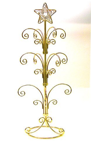 National Artcraft Ornament Display Stand Holds 12-24 Ornaments - Bright Gold Finish