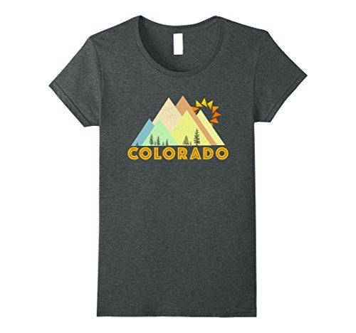 Womens Retro Vintage Colorado T-Shirt-Distressed Shirt Medium Dark Heather