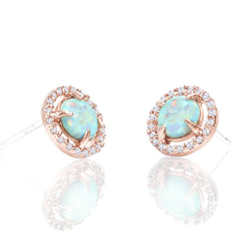 PAVOI 14K Rose Gold Plated CZ Simulated Diamond White Opal (Tacori 18k Earrings)