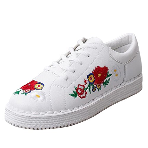 Binying Mashiaoyi Kvinners Broderi Snøring Plattform Sneaker Hvit