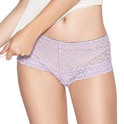 Eve S Temptation Women Lily Everyday Mid Waist Panties Lace Slimming Tummy Control Underwear Full Coverage Boyshorts Purple Small
