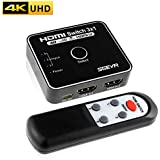SGEYR 3x1 HDMI Switch HDMI Switch 3 Port 4K 30Hz HDCP 1.4 Switcher, HDMI Auto Switch 3 in 1 Out, 3 Port Hdmi Switch with Upgraded IR Remote, Plug & Play No Driver, HDMI Switcher Hub