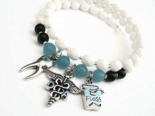 Dental Assistant Charm Bracelet, Agate & Sponge Quartz Stacking Bracelet, White Blue Memory Bracelet