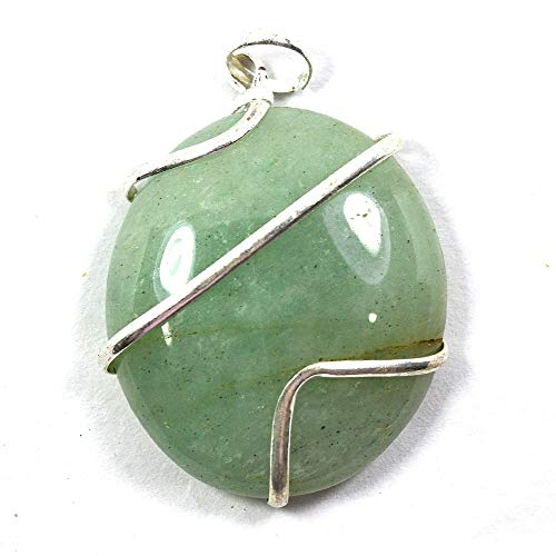 Reiki Crystal Products Green Aventurine Natural Stone Pendant Wire Wrapped Oval Pendant Semi Precious Stone Pendants for Unisex ()