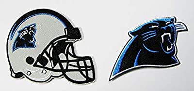 """LOT of 2 North Carolina Panthers Embroidered Helmet & Logo Patches (3 1/2"""" X 3"""") & (3 1/2 X 2"""")"""