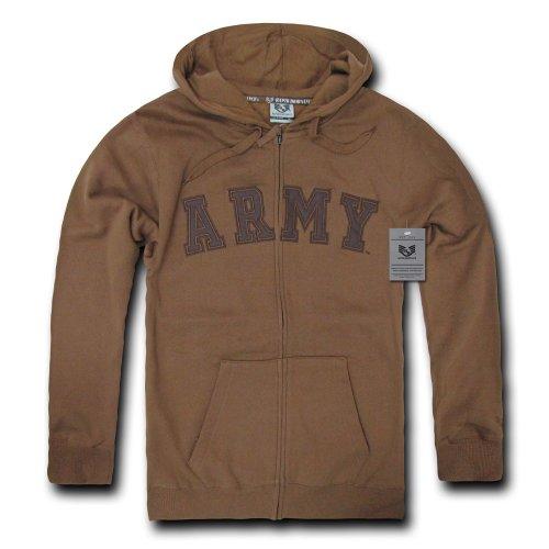 Rapiddominance US Army Full Zip Hoodie, Coyote, Large (Army Zip Hoodie)